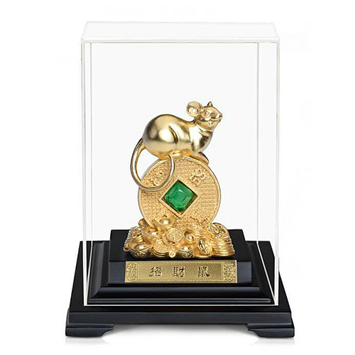 【招財鼠】 金鼠 錢母 錢滾錢 純金箔雕塑小櫥窗