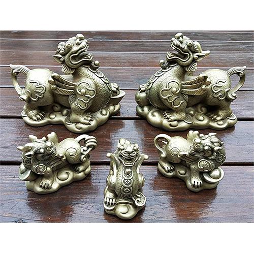 貴氣貔貅全家福(5件)~羅廣維限量36組銅雕