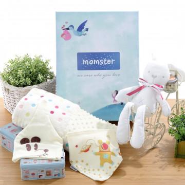 momster 新生兒彌月禮盒(點點毯,安撫兔,兜帽組,紗布毛巾30入)與奶瓶優惠組