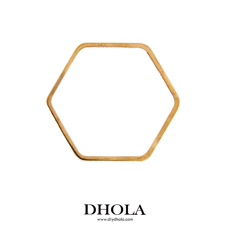 銅切管六角形 - 金色