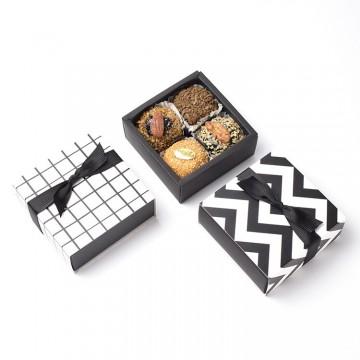 黑白時尚正方紙盒5入(裸盒出售.無附緞帶)