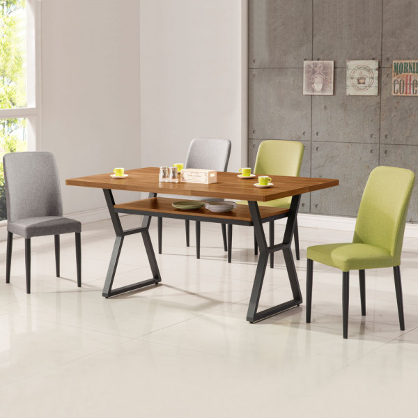Yostyle 愛德琳工業風4尺餐桌椅組(一桌四椅)