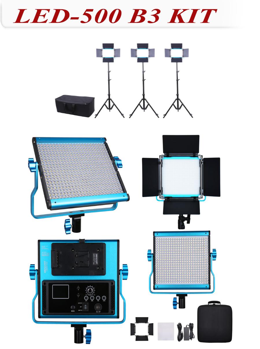 數位LED冷光燈-LED-500-B3KIT 可變色溫3燈組
