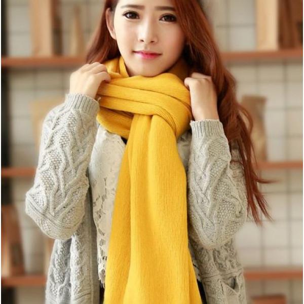 純色針織長巾