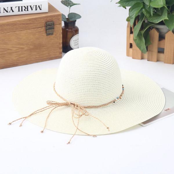 繫繩串珠摺疊大沿帽
