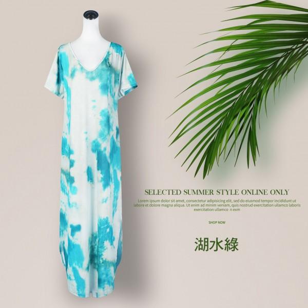 印花短袖雙口袋寬鬆連身裙