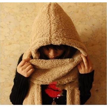珊瑚絨連帽圍巾