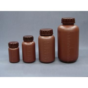 PE廣口瓶 茶色 附刻度 附內塞(HDPE)