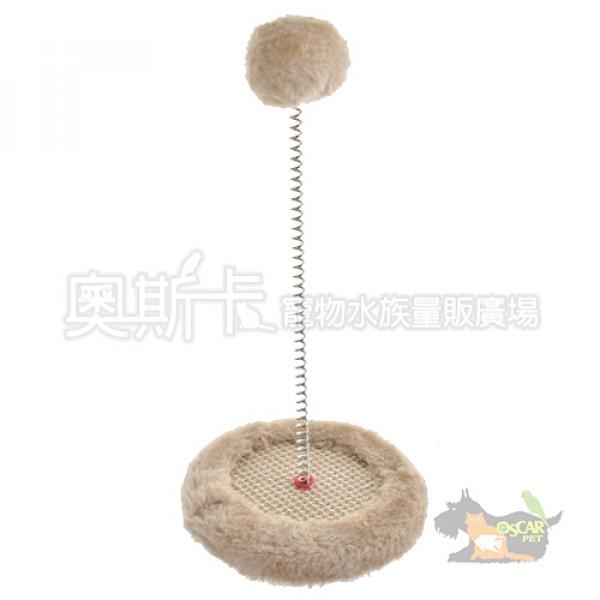 沛奇-毛絨白球圓形貓抓板