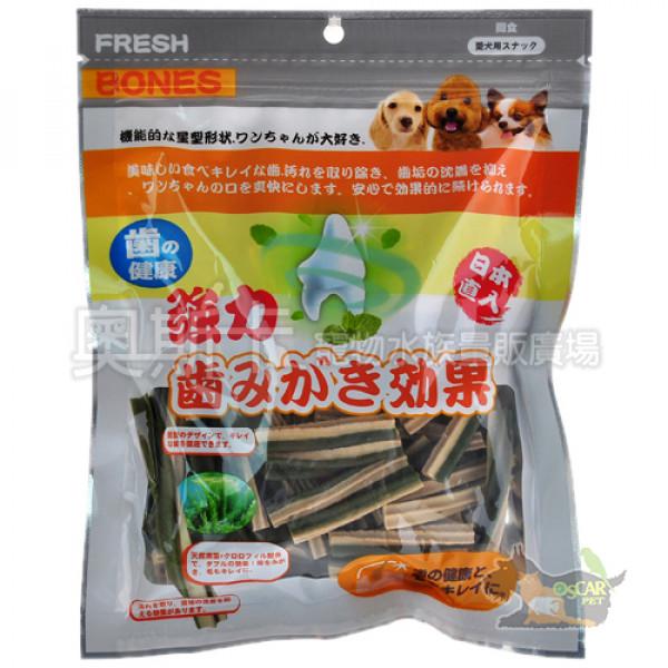日本FRESH BONES-潔牙一番(海藻+葉綠素)雙效螺旋棒/短細SS-86入(300g)