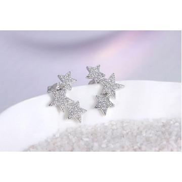 精緻 韓國氣質浪漫五角星鋯石耳釘(防過敏)-白金色