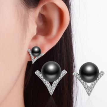 精緻 氣質珍珠 歡樂頌同款時尚V型鋯石珍珠耳釘-灰珍珠(防過敏)