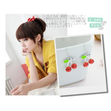 限量 韓國氣質小清新 時尚甜美‧OL簡約櫻桃水鑽耳環 3色