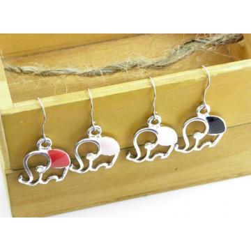 限量 韓國時尚特集 個性小物彩繪大象水鑽耳環 4色