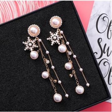 限量 韓國時尚復古 宮廷風閃鑽水晶雪花珍珠流蘇鏈條925銀針耳環