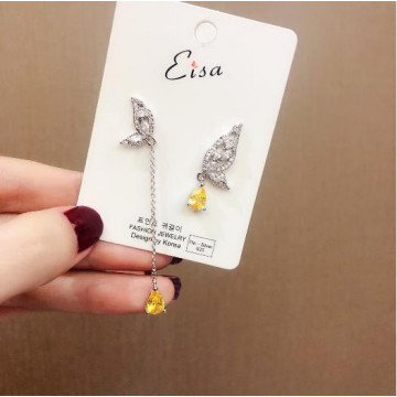 韓國微鑲蝴蝶水滴鋯石不對稱耳環