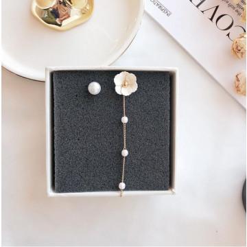 限量 韓國氣質春夏新款 AB款不對稱花朵珍珠可愛百搭耳環 3色
