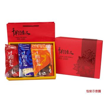 [千翔-預訂]:鳳呈祥禮盒A:特厚蜜汁肉乾+辣味牛肉乾+原味魷魚絲