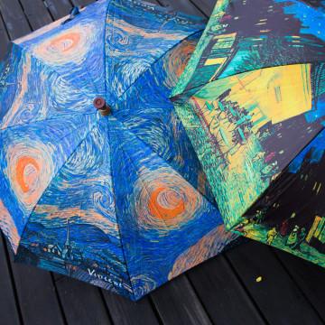晴雨兩用名畫拐杖傘