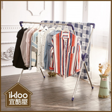 【ikloo】X型不銹鋼延伸衣架