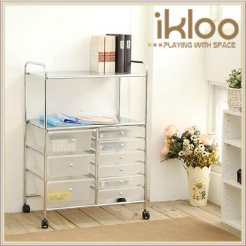 【ikloo】工業風三層收納置物籃/推車