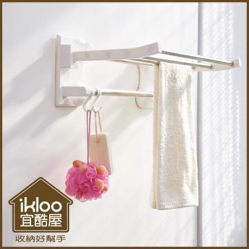 【ikloo】TACO無痕吸盤系列-不鏽鋼吸盤衛浴置物架