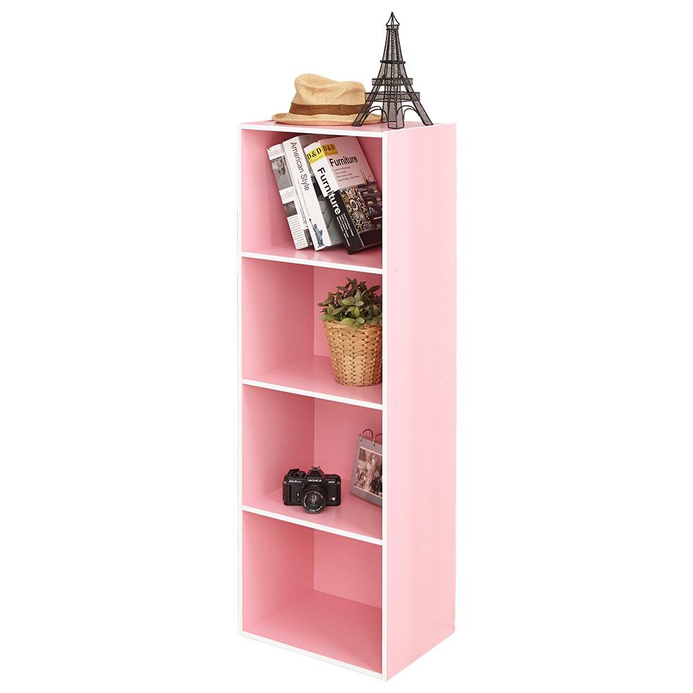 【ikloo】玩色木質四層櫃/書櫃◆2色可選