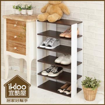 【ikloo】日系優雅五層木質鞋櫃◆2色可選