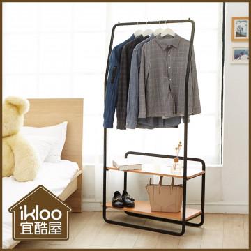 【ikloo】設計款雙木板單桿掛衣架