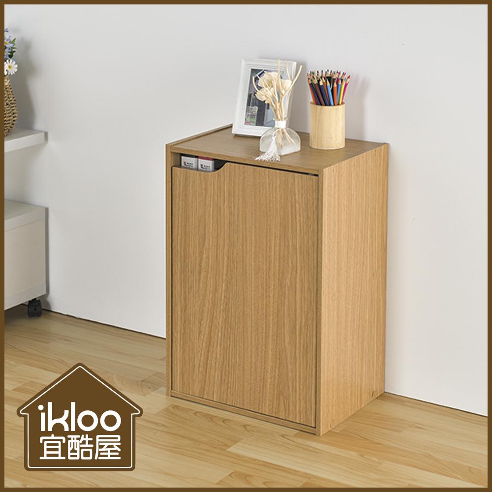 【ikloo】日系堆疊二格一門櫃-淺原木