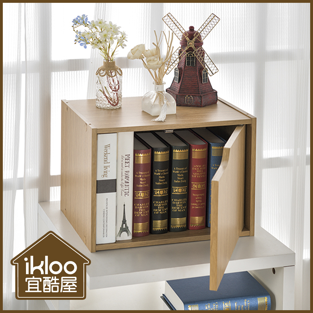 【ikloo】日系堆疊單門櫃-淺原木(3入)
