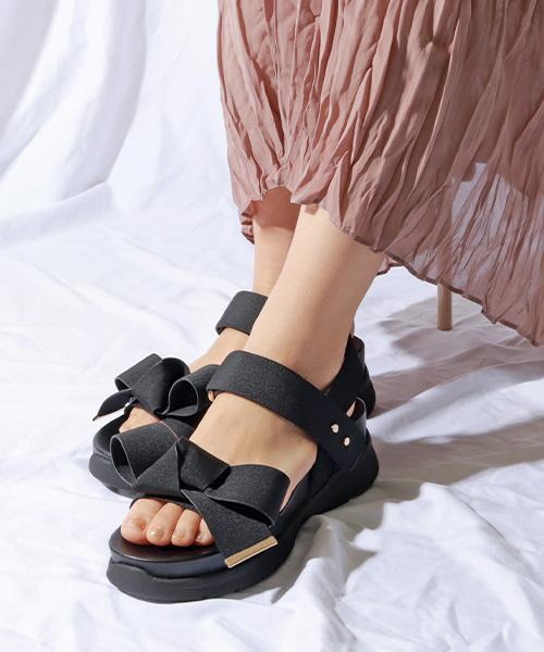 新色追加/超人氣 蝴蝶結厚底運動涼鞋/DR9059