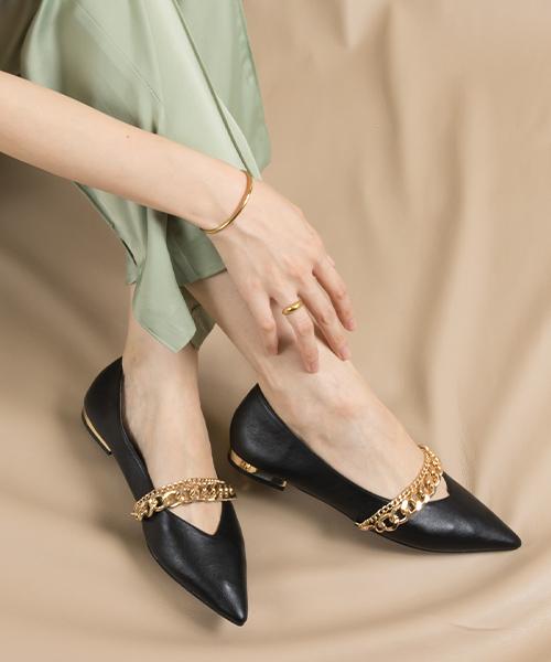 2WAY 金屬鍊飾柔軟平底跟鞋/EP9526