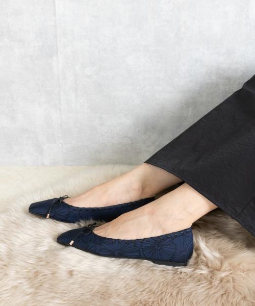 蝴蝶結柔軟方頭平底跟鞋/PP9564
