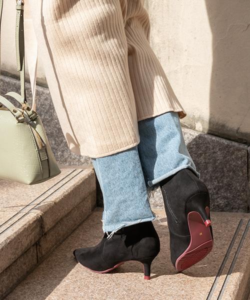 時尚低跟款  (防撥水)棉花糖x側開口拉鍊尖頭細跟短靴/KC9546