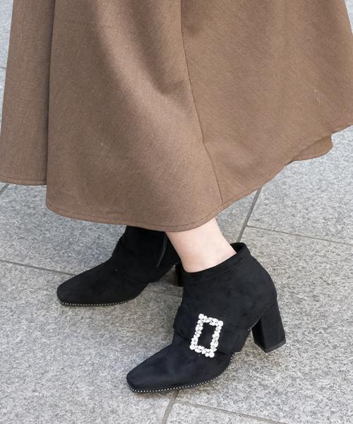 2WAY 方鑽皮帶柔軟舒適方頭短靴/PC9591