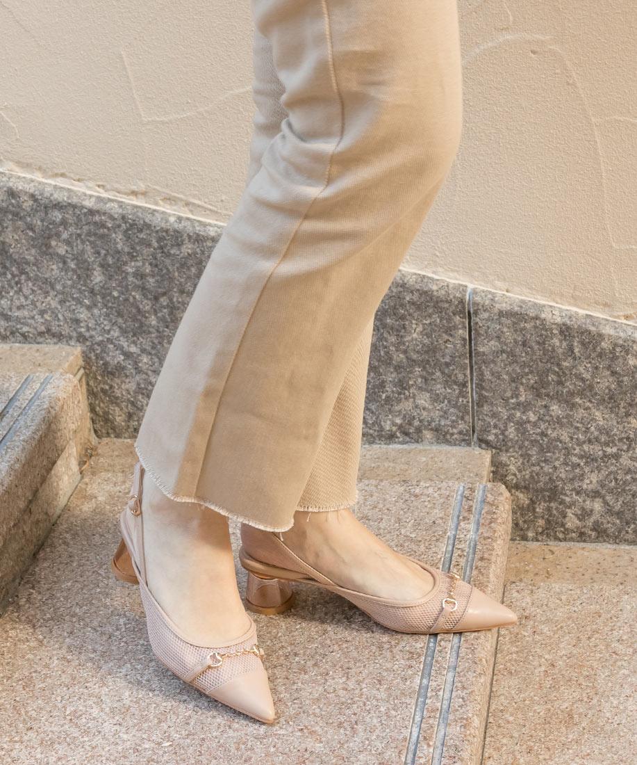 時尚透膚網紗x金屬鍊飾透明粗跟鞋/DD10007