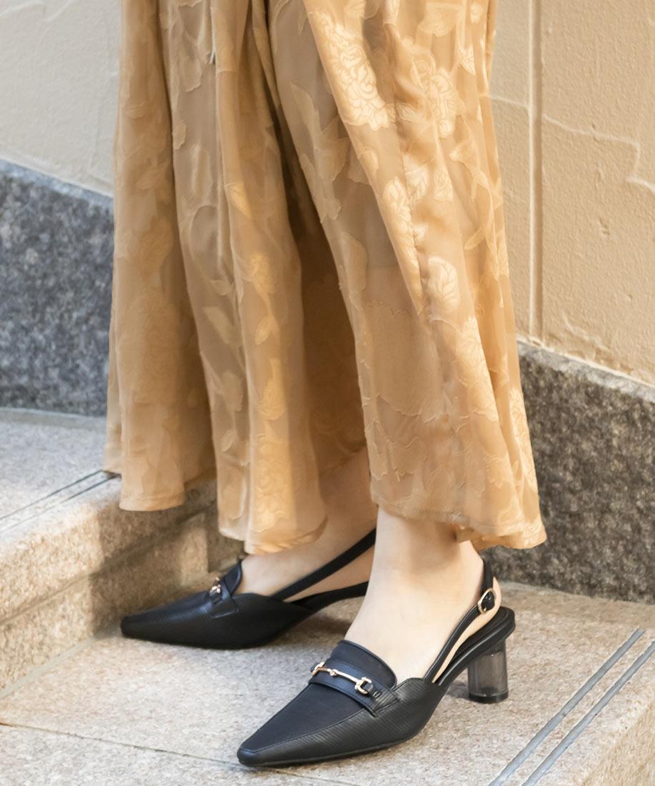 柔軟透膚後繫帶透明跟鞋/DE10001