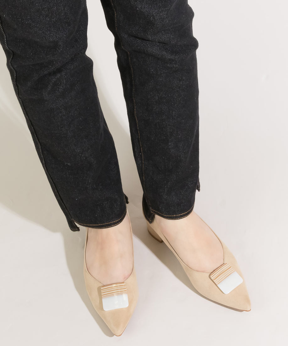 2WAY 可拆式大理石釦飾柔軟尖頭低跟鞋/PP10040