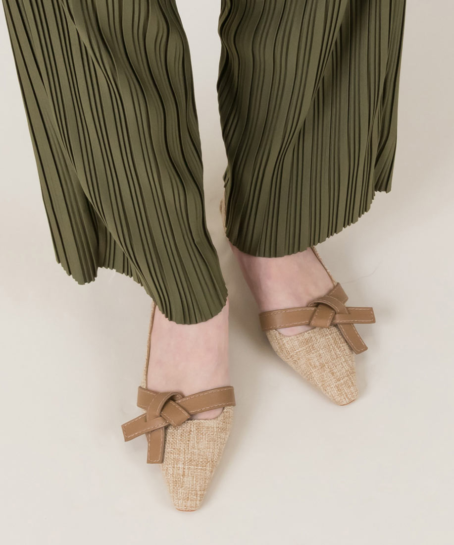 柔軟蝴蝶結後繫帶方頭低跟鞋/PD10015