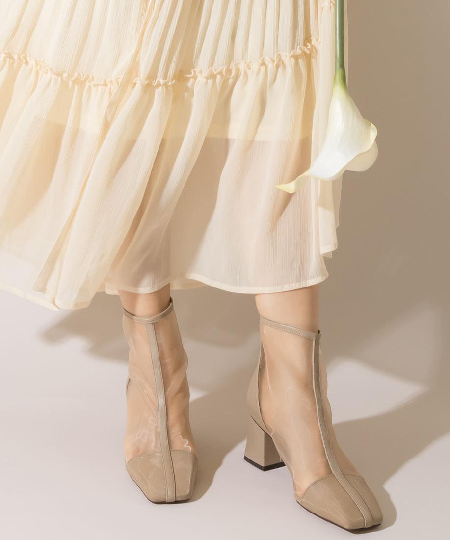 性感透膚柔軟粗跟短靴/EC10063