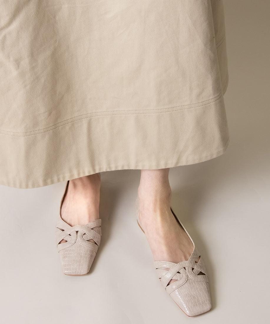 美型剪裁側開方頭平底跟鞋/DD10037