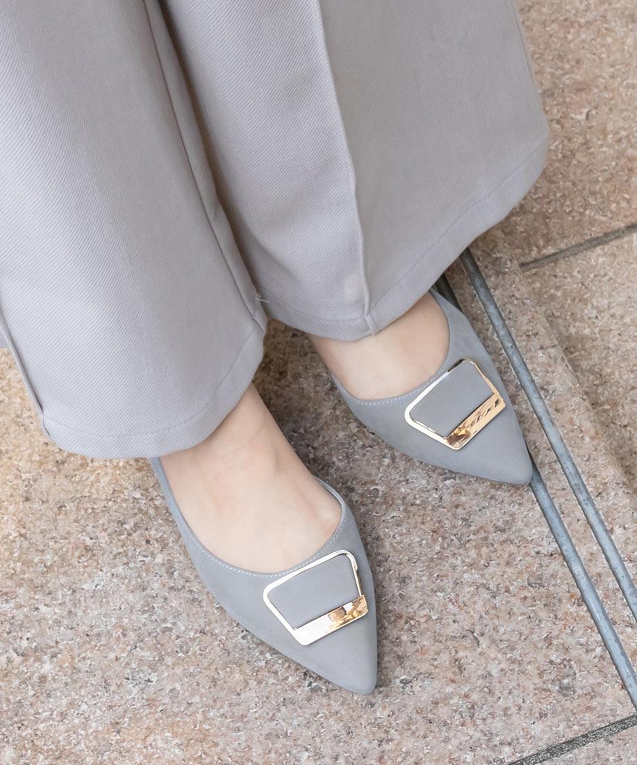 時尚金屬方釦尖頭側開平底跟鞋/DD10004