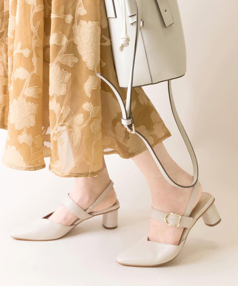 V剪裁皮帶金屬釦粗跟穆勒鞋/ED10084