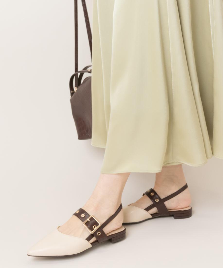 柔軟皮帶釦洞式尖頭平底跟鞋/ED10047