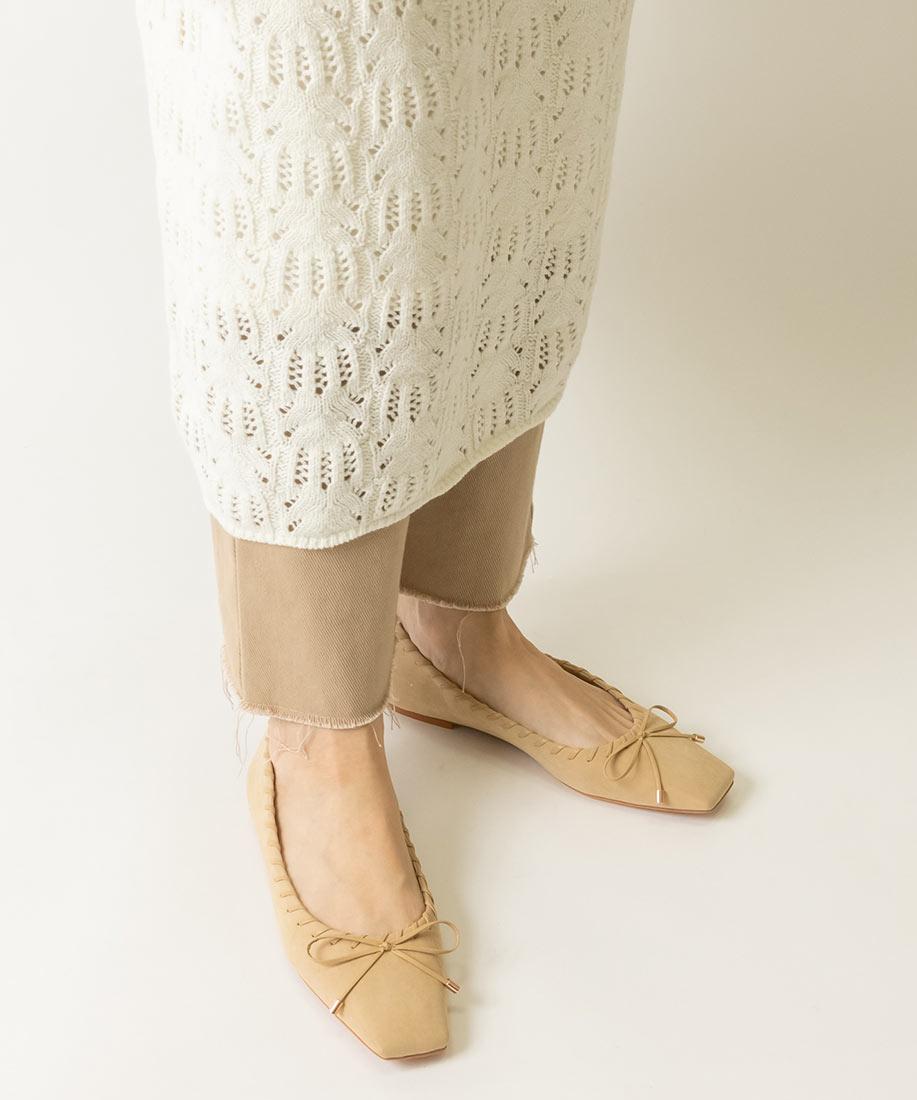 (編織款)蝴蝶結柔軟方頭平底跟鞋/PP10097