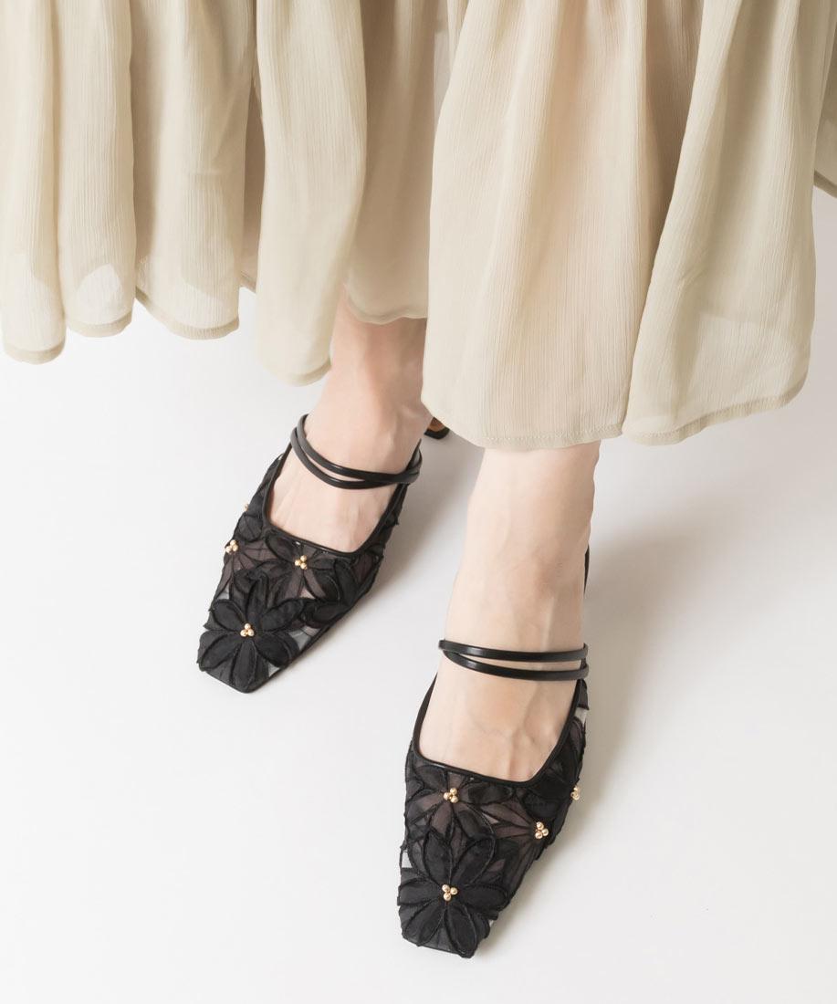 定番款 時尚花朵蕾絲方頭穆勒鞋/PD10033