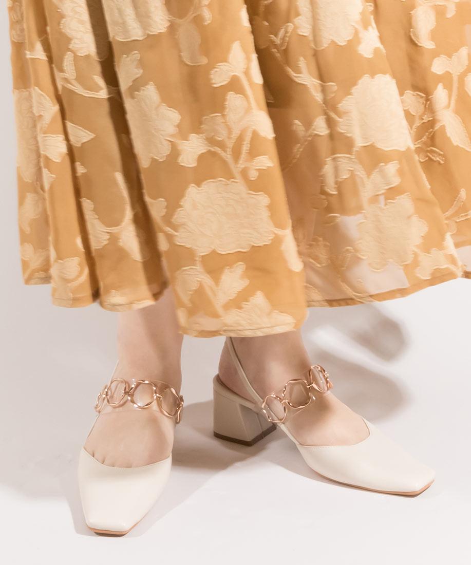 金屬鍊飾皮帶時尚方頭粗跟鞋/CD10072