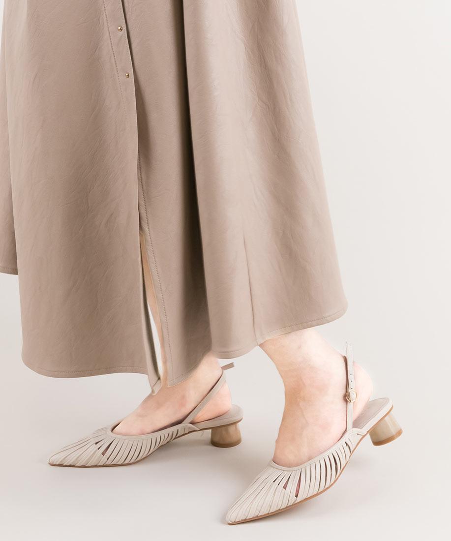 柔軟線條後繫帶尖頭跟鞋/PD10041