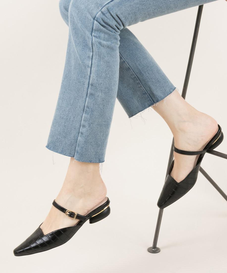 時尚細皮帶柔軟方頭平底跟鞋/ED10045